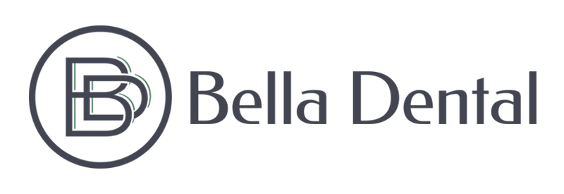 "Logo for Bella Dental. The text ""Bella Dental"" is written in black with an interconnected B & D in a circle next to the text."